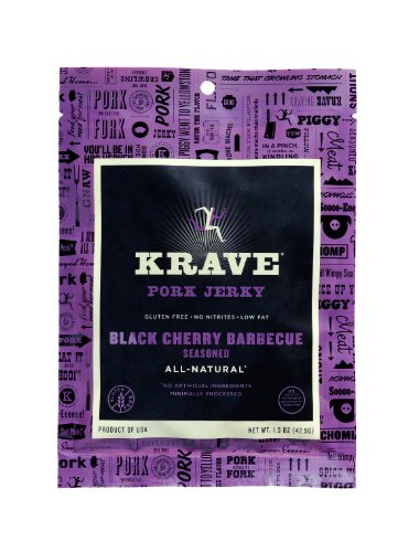 KRAVE Jerky Pork Jerky, Black Cherry Barbecue, 1.5 Ounce