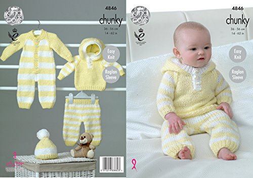 King Cole Baby Chunky Knitting Pattern Easy Knit Raglan Sleeve All-in-One Hoody Pants & Hat (4846)