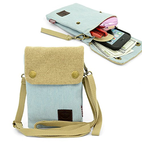 Gcepls Canvas Cross Body Purse Casual Shoulder Bag for iPhone X ,iPhone 8 Plus ,iphone 6S Plus ,7 Plus ,Samsung Galaxy S9 Plus Galaxy Note 9 S7 Edge,S8 Edge - Blue Khaki