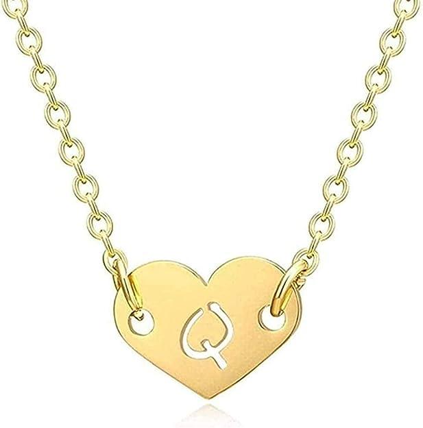 quanjiafu Halskette Romantische Liebe Herz Brief Anhänger