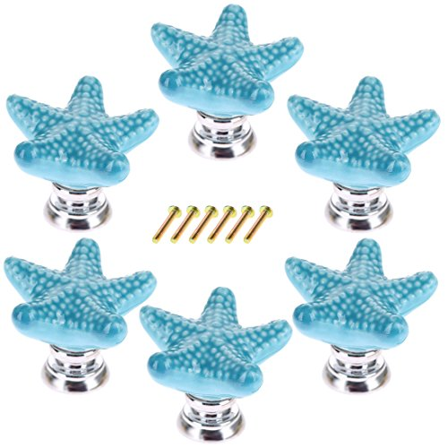 WOLFBUSH Starfish Drawer Pulls, 6 Pack Ceramic Drawer Knobs and Handles for Cabinet Wardrobe Door - Blue
