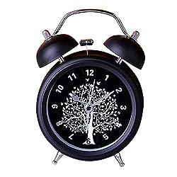 Zorvo 3 Classical Retro Alarm Clock Twin Bell Mute Silent Quartz Movement Non Ticking Sweep Second Hand Bedside Desk Analog Children's Alarm Clock With Nightlight And Loud Alarm (Black)