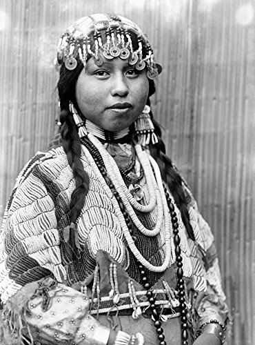 Wishram Bride C1910 Nhalf-Length Portrait Of A Wishram (Tlakluit) Bride With Braids Wearing A Beaded Headdress With Chinese Coins Dentalium Shell Earrings And Beaded Buckskin Dress With Beads Around H