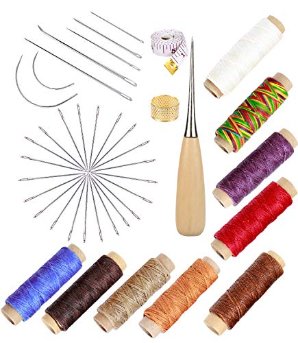 UOOU 49 Pcs Upholstery Repair Kit, Leather Waxed Thread Leather Needle and Thread Leather Hand Sewing Needles and Drilling Awl Leather Craft Hand Tools for Leather Repair Leathercraft Working