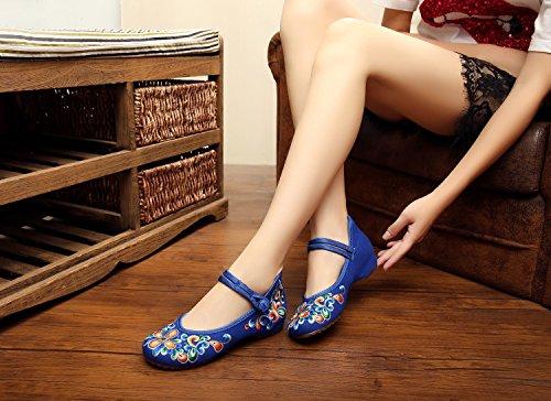 Scarpe Excellanyard Mary Jane Cinese Ricamo Piatto 02-blu
