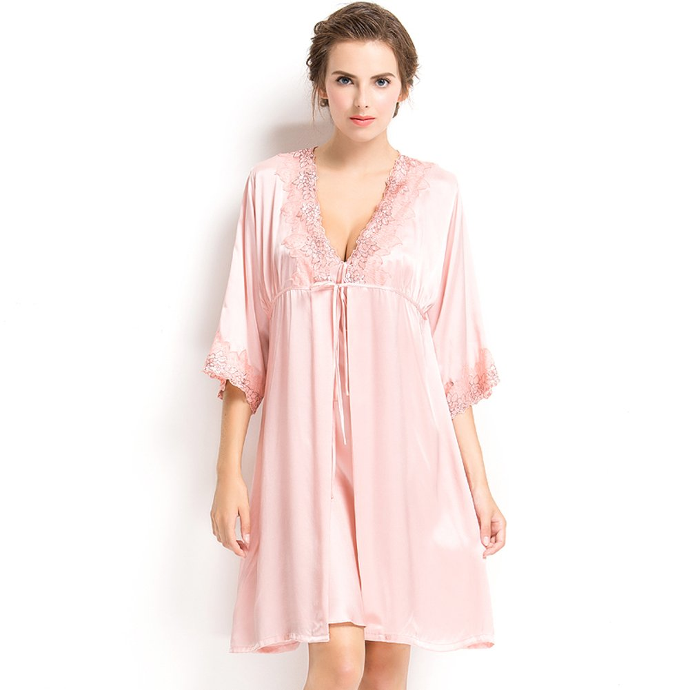 QUALCUNO Silk Pajamas Lady Spring and Summer Mulberry Silk Noble Home Service Autumn Style Silk Robe Bathrobe-C XL