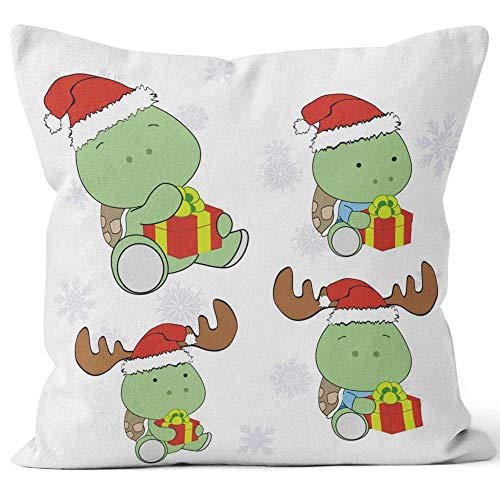 (Nine City Xmas Baby Turtle Cartoon Holding Gift Box Collection Set Throw Pillow Cover,HD Printing for Sofa Couch Car Bedroom Living Room D¨¦cor,40