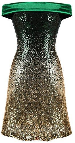 da Pendenza Oro paillettes Verde cocktail fashionsDa Angel Abiti donna qqHvt