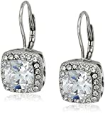 """Betsey Johnson""""Betsey Blue"""" Cubic Zirconia Stone Silver Square Drop Earrings"""