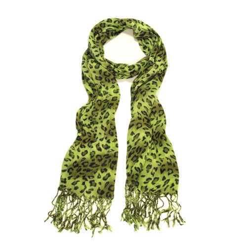 Elegant Leopard Animal Print Scarf with Fringe - Different Colors Available, Olive Green