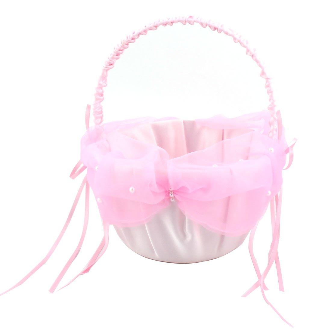 Buy White, Pink : Sellify Satin Bowknot Imitation Pearl Decor ...