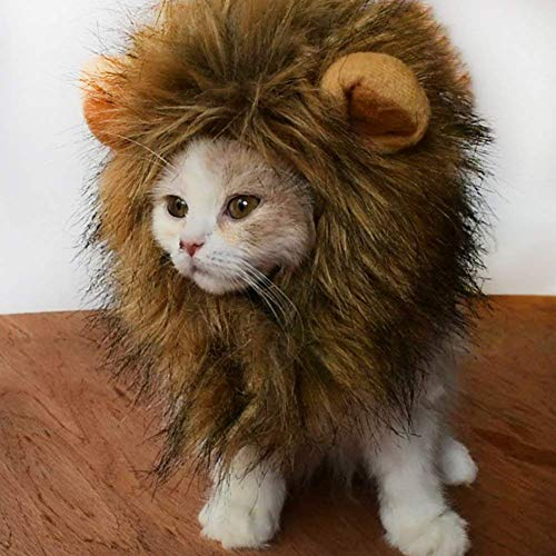 Adual Lion Mane for Cat and Small Dog Costume Pet Adjustable Reusable Lion Hair Cat Puppy Clothes for Halloween Christmas Pet Party -