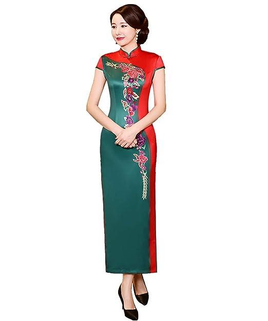 7bd134637 Solovedress Women's Classic Embroidery Cheongsam China Traditional Dress  Qipao (Green, ...