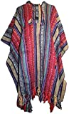 601 Agan Traders Shyama Cotton Hooded Stripe Cape Poncho (One Size, Red Multi)