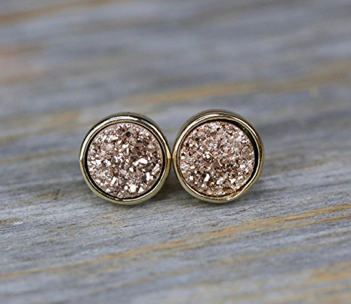 Rose Gold Rose Quartz Ring - Rose Druzy Stud Earring Champagne Druzy Quartz Gemstone Earring 8mm