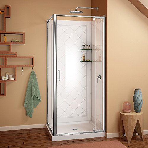 DreamLine Flex 36 in. D x 36 in. W Kit, with Pivot Shower Door in Chrome, White Acrylic Base and Backwalls by DreamLine