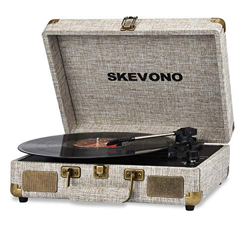 Vinyl Record Player, SKEVONO 3 Speed Portable Suitcase Turntable, Bluetooth Vintage Record Player with 2 Built-in Speakers, Supports RCA Output/Headphone Jack/Phone Music Playback (Light Beige Linen) (Best Portable Vinyl Player)