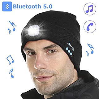 Tutuko Bluetooth 5.0 LED Beanie Hat, Built-in Stereo Speakers & Mic, USB Rechargeable LED Lighted Knit Cap, Unisex Christmas Gifts for Men, Women, Teens, Warm Hat for Sports and Outdoors (Gray)