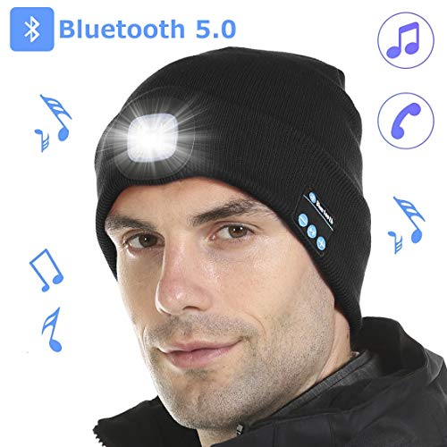 Tutuko Bluetooth 5.0 LED Beanie Hat, Built-in Stereo Speakers Mic, USB Rechargeable LED Lighted Knit Cap, Unisex Christmas Gifts for Men, Women, Teens, Warm Hat for Sports and Outdoors, Black