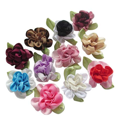 (Chenkou Craft 2tone Satin Ribbon Flowers Bows Appliques DIY Craft Wedding Decoration 40pcs)