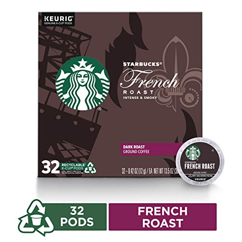 Starbucks French Roast Dark Roast Single Cup Coffee for Keurig Brewers, Box of 32 K-Cup Pods