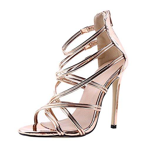 Or Bridal Chaussures Juleya Strappy Zip Hauts Femmes Sandales D'été Hauts Ouvert Sandales Talons Dames Talons Chaton Cheville À rprTwnvq