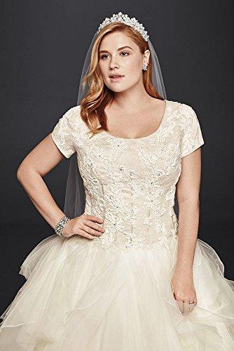 Organza Oleg Cassini Plus Size Modest Ruffle Wedding Dress ...