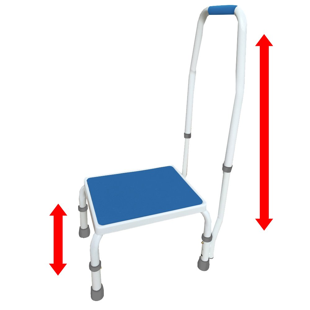 AdjustaStep(tm) Deluxe Step Stool/Footstool with Handle/Handrail, Height Adjustable. 2 products in 1. Modern white/blue design. New for 2016.