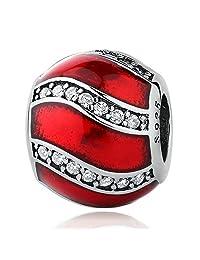 PAHALA 925 Strling Silver Red Enamel Crystals Charms Pendant Fit Bracelets Necklace