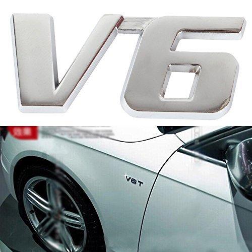 EFORCAR 2pcs Badge Emblem V6 3D Logo Decal Sticker Métal Chrome Fender Side Tronc