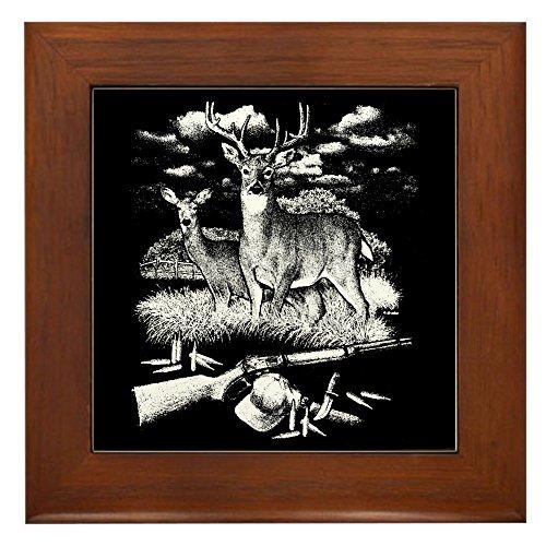 Tile Deer Framed - Framed Tile Deer Hunting Buck Doe Rifle and Hat