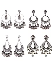 DOUVEI 4 Pairs Oxidized Gold Silver Indian Jhumka Jhumki Earrings Jewelry Stud Earrings Combo Women Girls