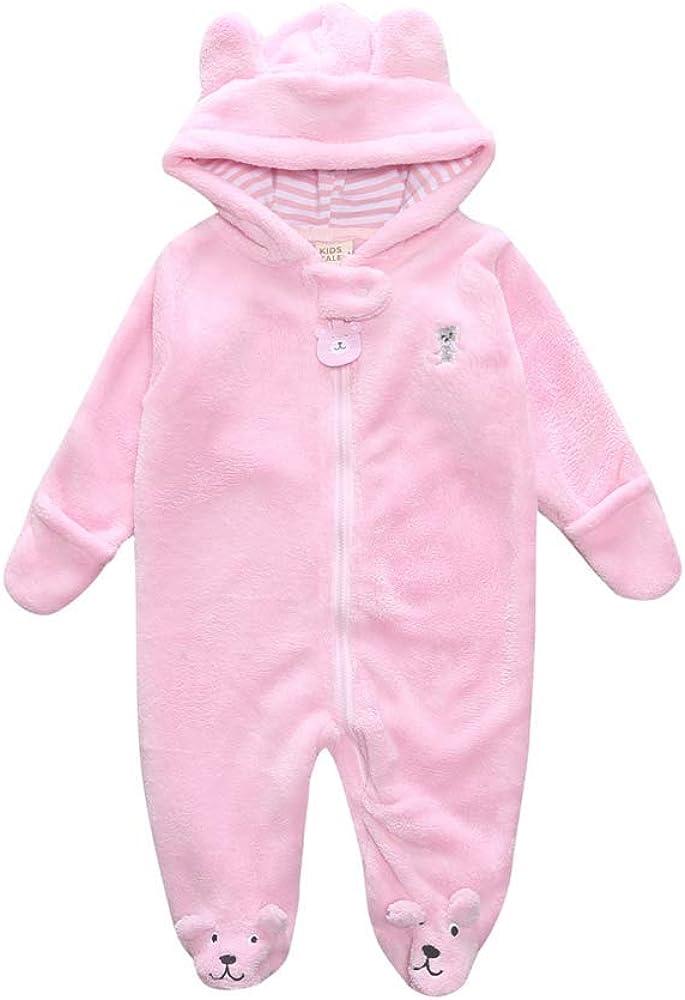 Unisex S/äugling Korallen Fleece Warm Bodys Einteiler Baby Jungen M/ädchen Cartoon B/är Footie Zip Up Strampler Overall Jumpsuit