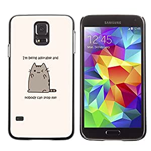 Paccase / SLIM PC / Aliminium Casa Carcasa Funda Case Cover para - Adorable Cat Cartoon Character Motivational - Samsung Galaxy S5 SM-G900