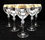 ''Cristalleria Fratelli Fumo'' Stemmed Crystal Water Wine Beverage Glasses, 10 Oz. 24 Karat Gold Rimmed Accent, Hand Made in Italy, SET OF 6