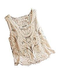 WenHong Women Lace Floral Sleeveless Crochet Knit Vest Tank Top Shirt Blouse