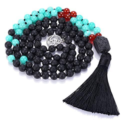CAT EYE JEWELS 8mm Mala Beads Necklace Yoga Meditation 108 Semi-Precious Stone Prayer Beads Tassel Necklace LR017