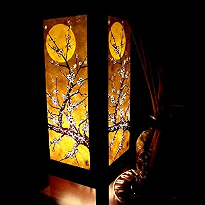Moon Sakura Table Lamp Lighting Shades Floor Desk Outdoor Touch Room Bedroom Modern Vintage Handmade Asian Oriental Wood Bedside Gift Art Home Garden Christmas; Free Adapter; Us 2 Pin Plug #98