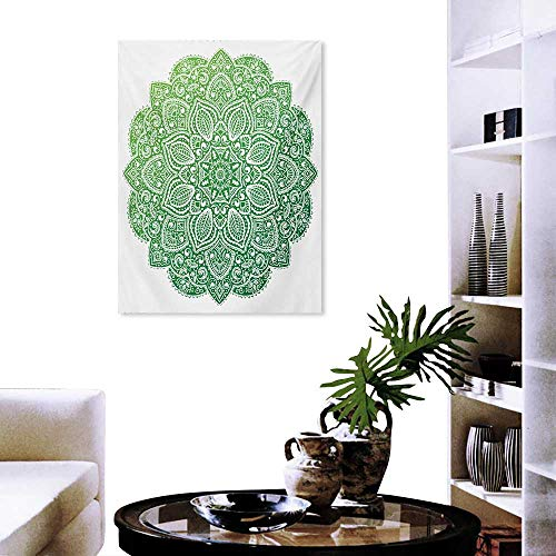 cobeDecor Mandala Landscape Wall Stickers Ornamental Floral Arrangement with Spirals Stars and Blossoming Petals Wall Stickers 20