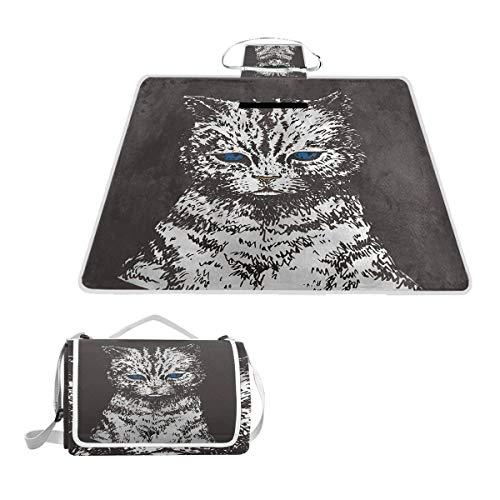 - SLHFPX Blue Eyes Cat Black Large Picnic Blanket,Picnic Rug Mat 57