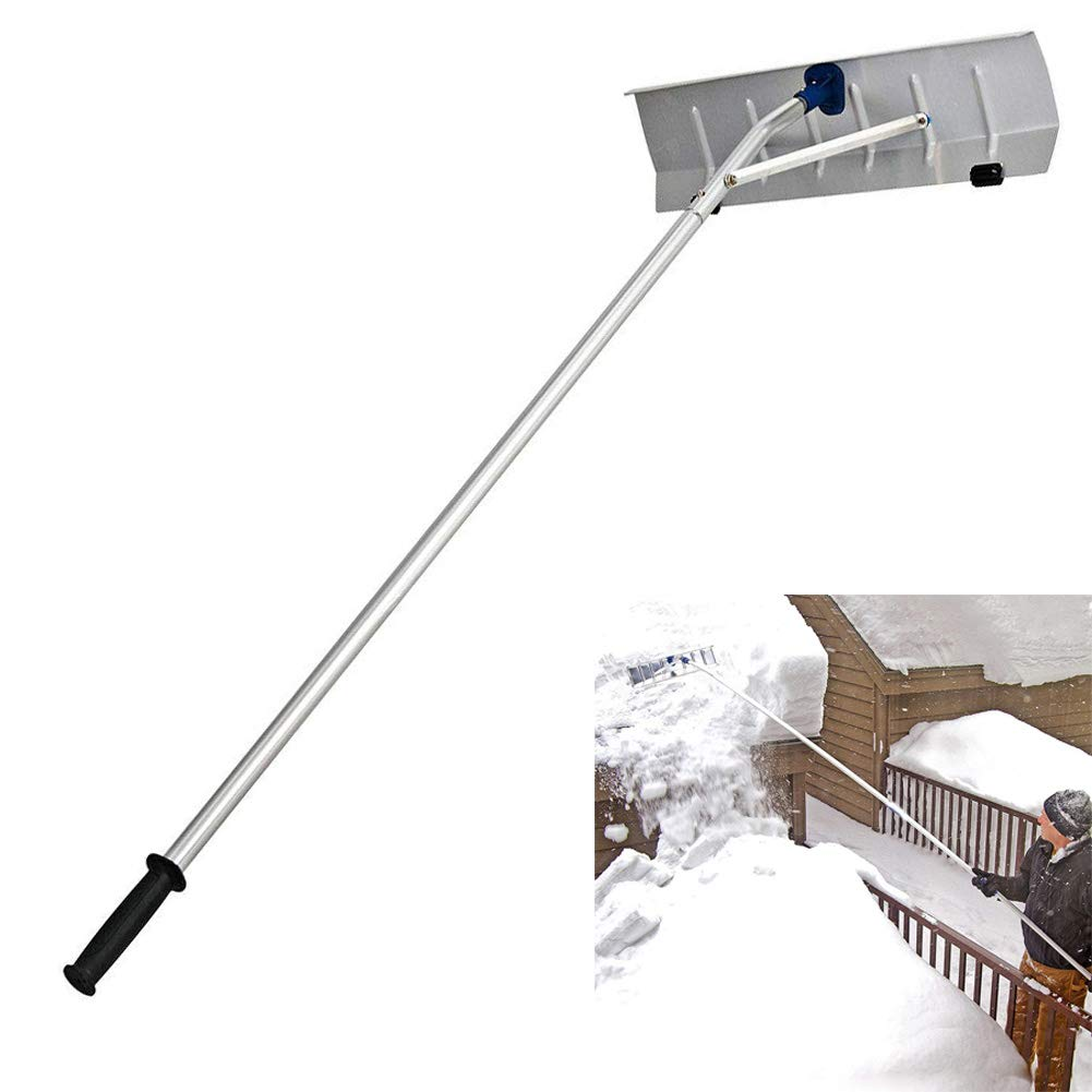 Cacoffay Telescoping Adjustable Snow Roof Rake with Large Blade Aluminum Tube and Non-Slip Handle for Schools, Street, Highways, High-Speed Rail, Greenhouses, Etc. by Cacoffay