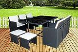 MCombo 11 pcs Luxury Black Wicker Patio Indoor Outdoor Dinner Dining Table Chair Furniture Set 0641