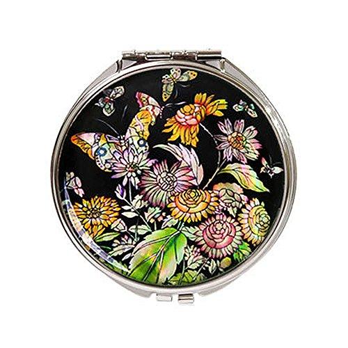 Cornflower Mirror (Parkssi Mother of Pearl Compact Round Pocket Purse Mirror (Cornflower-Black), Medium #32903)