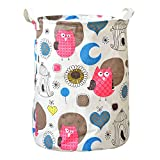 Cotton Collapsible Laundry Basket Dirty Clothes Hamper/0756-Owl