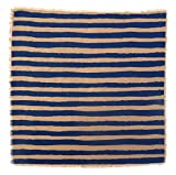 Gitika Goyal Home Windows Collection Cotton Khadi  Khaki Napkin 17x17 Stripe Design, Blue Hand Screen Print