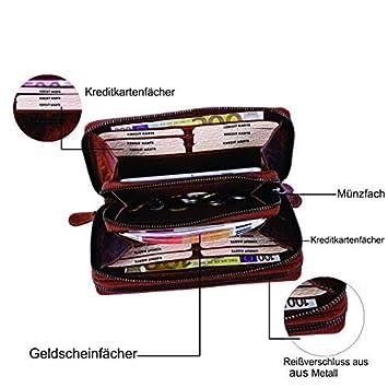 8aed1e4ed0595e Geldbörse für Damen und Herren Echt-Leder/mit Handytasche/Großer Geldbeutel  mit RFID