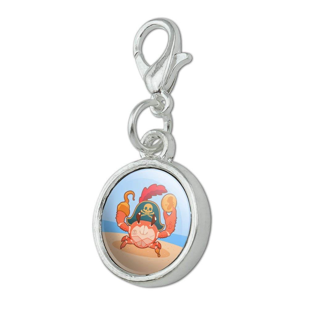 GRAPHICS /& MORE Pirate Crab on The Beach with Hook and Coin Antiqued Bracelet Pendant Zipper Pull Charm with Lobster Clasp