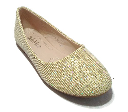 [BellaMarie Kids Dress Ballet Flat Slip On Comfortable Ballerina GOLD Synthetic Glitter Sparkle Shoes 9 US Toddler] (Sparkle Belle Shoes)