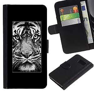 LASTONE PHONE CASE / Lujo Billetera de Cuero Caso del tirón Titular de la tarjeta Flip Carcasa Funda para Samsung Galaxy S6 SM-G920 / tiger roar poster Africa majestic animal