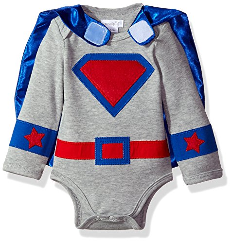 Mud Pie Baby Boys' Halloween Costume Superhero Crawler and Cape Set, Blue, 0-6 MOS ()